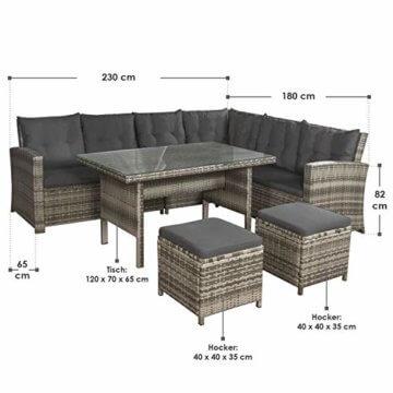 ArtLife Polyrattan Sitzgruppe Lounge Santa Catalina beige-grau – Gartenmöbel-Set mit Eck-Sofa & Tisch - bis 6 Personen - wetterfest & stabil - 4