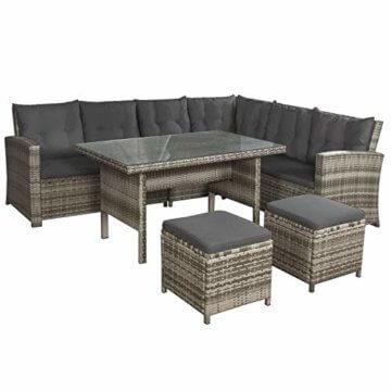 ArtLife Polyrattan Sitzgruppe Lounge Santa Catalina beige-grau – Gartenmöbel-Set mit Eck-Sofa & Tisch - bis 6 Personen - wetterfest & stabil - 1