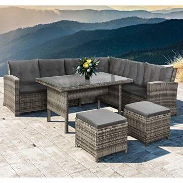 ArtLife Polyrattan Sitzgruppe Lounge Santa Catalina beige-grau – Gartenmöbel-Set mit Eck-Sofa & Tisch - bis 6 Personen - wetterfest & stabil - 6