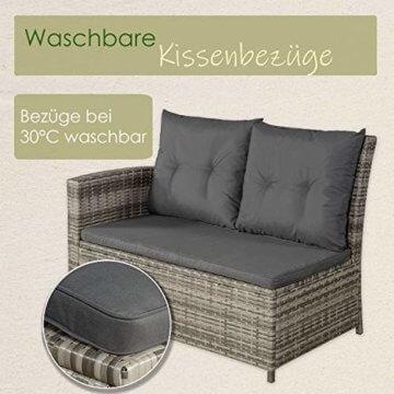 ArtLife Polyrattan Sitzgruppe Lounge Santa Catalina beige-grau – Gartenmöbel-Set mit Eck-Sofa & Tisch - bis 6 Personen - wetterfest & stabil - 7