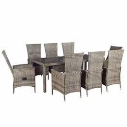 ArtLife Polyrattan Sitzgruppe Rimini Plus 9-teilig grau-meliert | Gartenmöbel Set mit Tisch, 8 Stühlen & Kissen | graue Bezüge | Rattan Balkonmöbel - 1