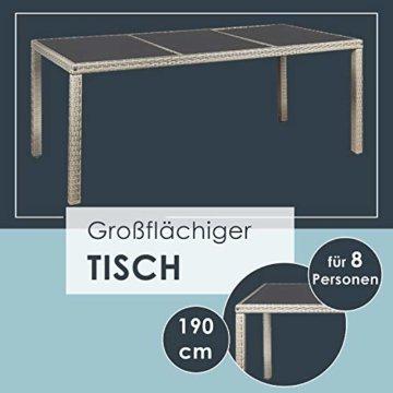 ArtLife Polyrattan Sitzgruppe Rimini Plus 9-teilig grau-meliert | Gartenmöbel Set mit Tisch, 8 Stühlen & Kissen | graue Bezüge | Rattan Balkonmöbel - 5
