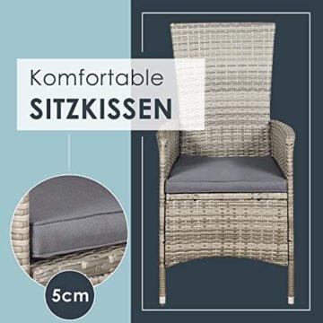 ArtLife Polyrattan Sitzgruppe Rimini Plus 9-teilig grau-meliert | Gartenmöbel Set mit Tisch, 8 Stühlen & Kissen | graue Bezüge | Rattan Balkonmöbel - 7