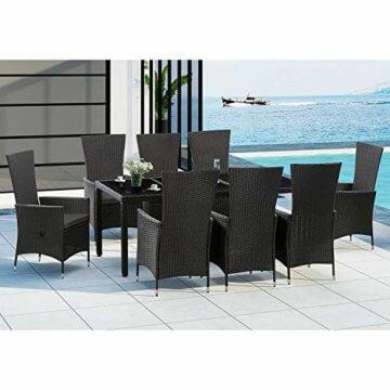 ArtLife Polyrattan Sitzgruppe Rimini Plus 9-teilig schwarz   Gartenmöbel Set mit Tisch, 8 Stühlen & Kissen   graue Bezüge   Rattan Balkonmöbel - 2