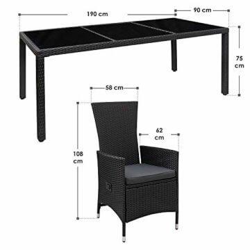 ArtLife Polyrattan Sitzgruppe Rimini Plus 9-teilig schwarz | Gartenmöbel Set mit Tisch, 8 Stühlen & Kissen | graue Bezüge | Rattan Balkonmöbel - 3