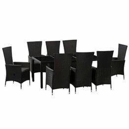 ArtLife Polyrattan Sitzgruppe Rimini Plus 9-teilig schwarz | Gartenmöbel Set mit Tisch, 8 Stühlen & Kissen | graue Bezüge | Rattan Balkonmöbel - 1
