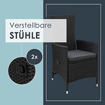 ArtLife Polyrattan Sitzgruppe Rimini Plus 9-teilig schwarz   Gartenmöbel Set mit Tisch, 8 Stühlen & Kissen   graue Bezüge   Rattan Balkonmöbel - 4