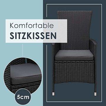 ArtLife Polyrattan Sitzgruppe Rimini Plus 9-teilig schwarz   Gartenmöbel Set mit Tisch, 8 Stühlen & Kissen   graue Bezüge   Rattan Balkonmöbel - 5