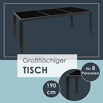 ArtLife Polyrattan Sitzgruppe Rimini Plus 9-teilig schwarz | Gartenmöbel Set mit Tisch, 8 Stühlen & Kissen | graue Bezüge | Rattan Balkonmöbel - 6