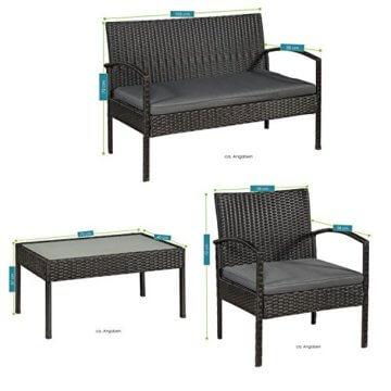 ArtLife Polyrattan Sitzgruppe Trinidad - Gartenmöbel Set mit Bank, Sessel & Tisch für 4 Personen - schwarz mit grauen Bezüge - Terrassenmöbel Balkonmöbel Lounge - 4