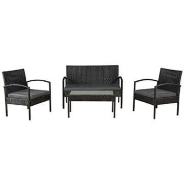 ArtLife Polyrattan Sitzgruppe Trinidad - Gartenmöbel Set mit Bank, Sessel & Tisch für 4 Personen - schwarz mit grauen Bezüge - Terrassenmöbel Balkonmöbel Lounge - 1