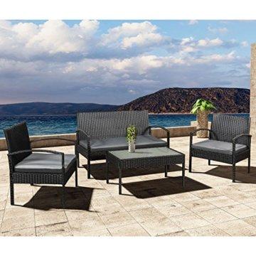 ArtLife Polyrattan Sitzgruppe Trinidad - Gartenmöbel Set mit Bank, Sessel & Tisch für 4 Personen - schwarz mit grauen Bezüge - Terrassenmöbel Balkonmöbel Lounge - 5