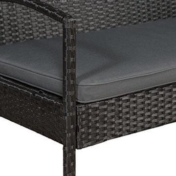 ArtLife Polyrattan Sitzgruppe Trinidad - Gartenmöbel Set mit Bank, Sessel & Tisch für 4 Personen - schwarz mit grauen Bezüge - Terrassenmöbel Balkonmöbel Lounge - 7