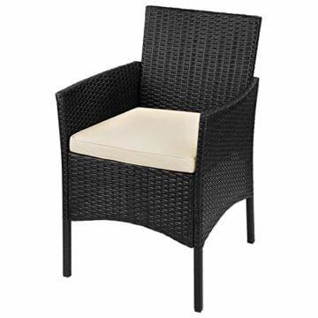 BB Sport 7-teilige Polyrattan Sitzgruppe für 4 Personen inkl. Sitzpolster und Tisch Balkonmöbel Set Sitzgarnitur, Farbe:Titan-Schwarz/Sandstrand - 3