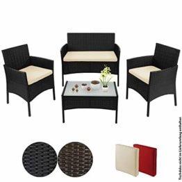 BB Sport 7-teilige Polyrattan Sitzgruppe für 4 Personen inkl. Sitzpolster und Tisch Balkonmöbel Set Sitzgarnitur, Farbe:Titan-Schwarz/Sandstrand - 1