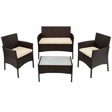 BB Sport 7-teilige Polyrattan Sitzgruppe für 4 Personen inkl. Sitzpolster und Tisch Balkonmöbel Set Sitzgarnitur, Farbe:Schwarz-Braun meliert/Sandstrand - 2