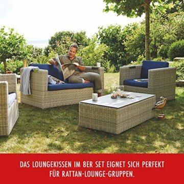 Beo Lounge Kissen Monaco | passend für Allibert Lounge-Möbel | Hellgrau | 8 Kissen | Bezug 50% Baumwolle/50% Polyester | maschinenwaschbar | mit Reißverschluss | schadstofffrei nach Öko-Tex-Standard - 7