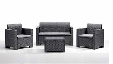BICA Gartenmöbel Set Nebraska 2, Lounge 4 Plätze, Graphit, Rattan Design - 1