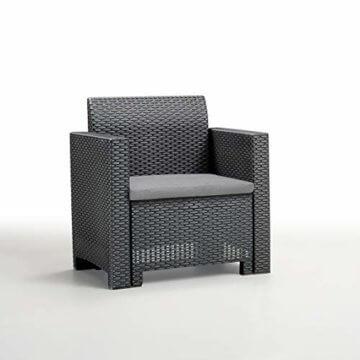 BICA Gartenmöbel Set Nebraska 2, Lounge 4 Plätze, Graphit, Rattan Design - 4