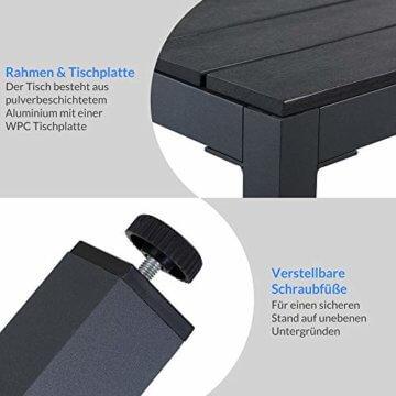 Casaria Aluminium Sitzgruppe 4 Klappstühle Hochlehner WPC Gartentisch 80x80 cm Sitzgarnitur Alu Gartenmöbel Set Grau - 2