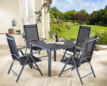Casaria Aluminium Sitzgruppe 4 Klappstühle Hochlehner WPC Gartentisch 80x80 cm Sitzgarnitur Alu Gartenmöbel Set Grau - 3