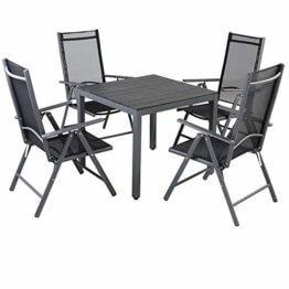 Casaria Aluminium Sitzgruppe 4 Klappstühle Hochlehner WPC Gartentisch 80x80 cm Sitzgarnitur Alu Gartenmöbel Set Grau - 1