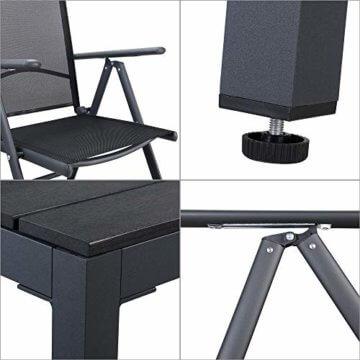 Casaria Aluminium Sitzgruppe 4 Klappstühle Hochlehner WPC Gartentisch 80x80 cm Sitzgarnitur Alu Gartenmöbel Set Grau - 4