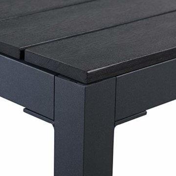Casaria Aluminium Sitzgruppe 4 Klappstühle Hochlehner WPC Gartentisch 80x80 cm Sitzgarnitur Alu Gartenmöbel Set Grau - 5