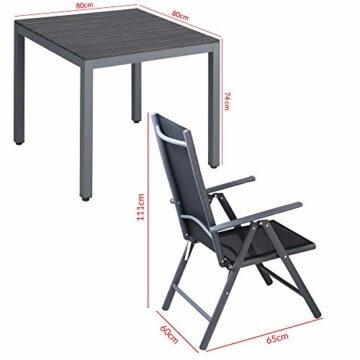 Casaria Aluminium Sitzgruppe 4 Klappstühle Hochlehner WPC Gartentisch 80x80 cm Sitzgarnitur Alu Gartenmöbel Set Grau - 8