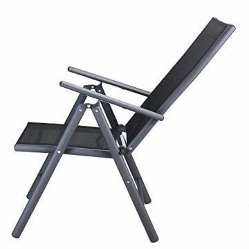 Casaria Aluminium Sitzgruppe 4 Klappstühle Hochlehner WPC Gartentisch 80x80 cm Sitzgarnitur Alu Gartenmöbel Set Grau - 9