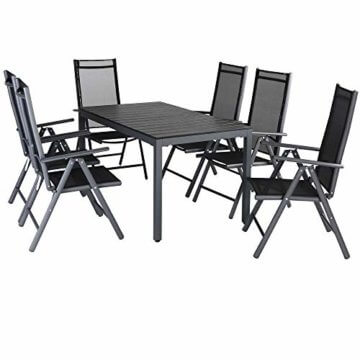 Casaria Aluminium Sitzgruppe 6 Klappstühle Hochlehner WPC Gartentisch 140x80 cm Sitzgarnitur Alu Gartenmöbel Set Grau - 1