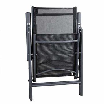 Casaria Aluminium Sitzgruppe 6 Klappstühle Hochlehner WPC Gartentisch 140x80 cm Sitzgarnitur Alu Gartenmöbel Set Grau - 6