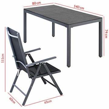 Casaria Aluminium Sitzgruppe 6 Klappstühle Hochlehner WPC Gartentisch 140x80 cm Sitzgarnitur Alu Gartenmöbel Set Grau - 7