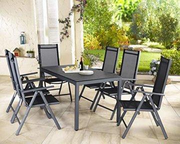 Casaria Aluminium Sitzgruppe 6 Klappstühle Hochlehner WPC Gartentisch 140x80 cm Sitzgarnitur Alu Gartenmöbel Set Grau - 9