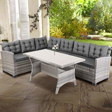 Casaria Poly Rattan Lounge Set WPC Esstisch 7cm Dicke Auflagen Wetterfest Garten Sitzgruppe Ecklounge Outdoor Gartenmöbel - Grau - 2