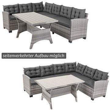 Casaria Poly Rattan Lounge Set WPC Esstisch 7cm Dicke Auflagen Wetterfest Garten Sitzgruppe Ecklounge Outdoor Gartenmöbel - Grau - 5