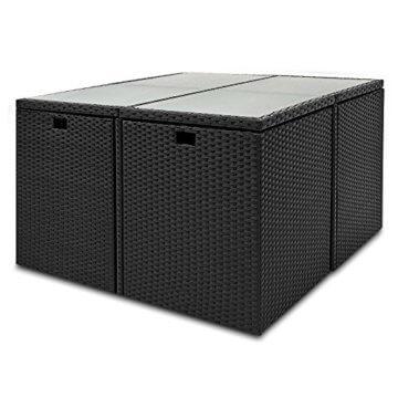 Casaria Poly Rattan Sitzgarnitur Cube 7cm Dicke Auflagen 4 Stühle 4 Hocker Tisch 9 TLG Sitzgruppe Gartenmöbel Set - 2