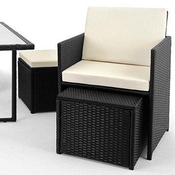 Casaria Poly Rattan Sitzgarnitur Cube 7cm Dicke Auflagen 4 Stühle 4 Hocker Tisch 9 TLG Sitzgruppe Gartenmöbel Set - 3