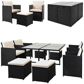 Casaria Poly Rattan Sitzgarnitur Cube 7cm Dicke Auflagen 4 Stühle 4 Hocker Tisch 9 TLG Sitzgruppe Gartenmöbel Set - 1