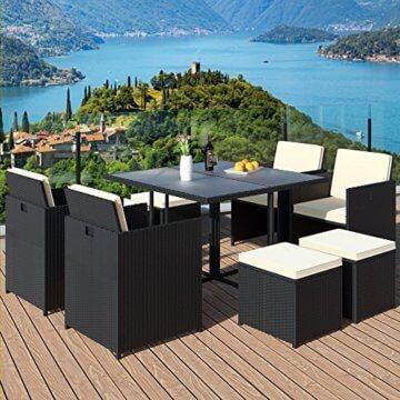 Casaria Poly Rattan Sitzgarnitur Cube 7cm Dicke Auflagen 4 Stühle 4 Hocker Tisch 9 TLG Sitzgruppe Gartenmöbel Set - 5