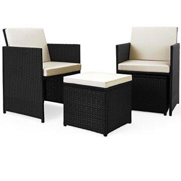 Casaria Poly Rattan Sitzgarnitur Cube 7cm Dicke Auflagen 4 Stühle 4 Hocker Tisch 9 TLG Sitzgruppe Gartenmöbel Set - 6