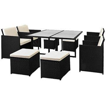 Casaria Poly Rattan Sitzgarnitur Cube 7cm Dicke Auflagen 4 Stühle 4 Hocker Tisch 9 TLG Sitzgruppe Gartenmöbel Set - 7