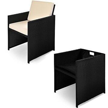 Casaria Poly Rattan Sitzgarnitur Cube 7cm Dicke Auflagen 4 Stühle 4 Hocker Tisch 9 TLG Sitzgruppe Gartenmöbel Set - 8