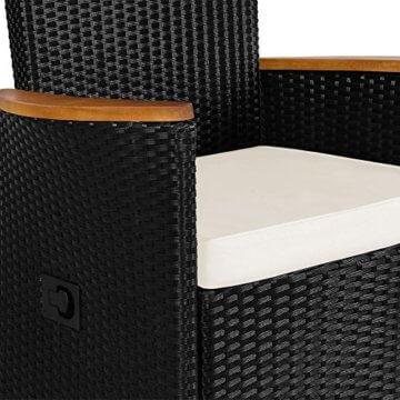 Casaria Poly Rattan Sitzgruppe 8+1 Schwarz 7cm Dicke Auflagen Tisch & Armlehnen aus Holz Neigbare Lehne Gartenmöbel Set - 2