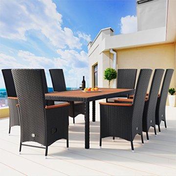 Casaria Poly Rattan Sitzgruppe 8+1 Schwarz 7cm Dicke Auflagen Tisch & Armlehnen aus Holz Neigbare Lehne Gartenmöbel Set - 3