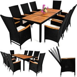 Casaria Poly Rattan Sitzgruppe 8+1 Schwarz 7cm Dicke Auflagen Tisch & Armlehnen aus Holz Neigbare Lehne Gartenmöbel Set - 1