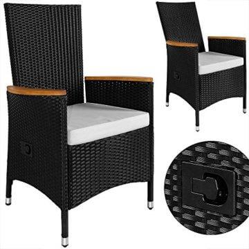 Casaria Poly Rattan Sitzgruppe 8+1 Schwarz 7cm Dicke Auflagen Tisch & Armlehnen aus Holz Neigbare Lehne Gartenmöbel Set - 4