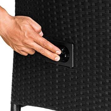 Casaria Poly Rattan Sitzgruppe 8+1 Schwarz 7cm Dicke Auflagen Tisch & Armlehnen aus Holz Neigbare Lehne Gartenmöbel Set - 5