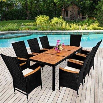Casaria Poly Rattan Sitzgruppe 8+1 Schwarz 7cm Dicke Auflagen Tisch & Armlehnen aus Holz Neigbare Lehne Gartenmöbel Set - 6