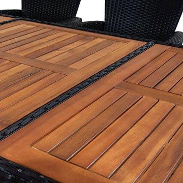 Casaria Poly Rattan Sitzgruppe 8+1 Schwarz 7cm Dicke Auflagen Tisch & Armlehnen aus Holz Neigbare Lehne Gartenmöbel Set - 8